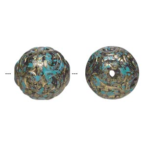 Bead, Antiqued Gold-finished Plastic, Blue-green Black, 18mm Textured Round 1.5mm Hole. Sold Per Pkg 16