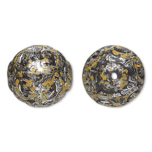 Bead, Antiqued Silver-finished Plastic, Yellow Black, 18mm Textured Round 1.5mm Hole. Sold Per Pkg 16