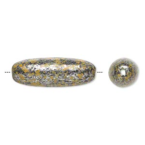 Bead, Antiqued Silver-finished Plastic, Yellow Black, 35x12mm Oval 2mm Hole. Sold Per Pkg 14