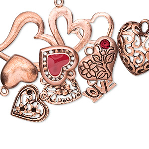 Charm, Enamel / Crystal / Copper-plated Pewter (tin-based Alloy), Multicolored, 14x10mm-34x26mm Assorted Heart. Sold Per 10-piece Set