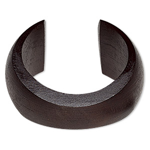 Bracelet, Cuff, Wood (dyed / Waxed), Dark Brown, 20-41mm Wide Hand-carved Tapered Concave Band, 7-1/2 Inches. Sold Individually 6426JD