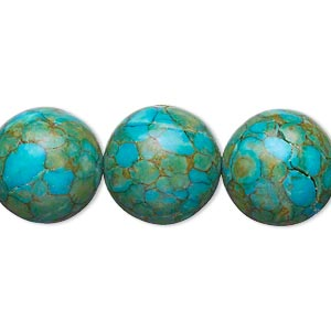 "Bead, Mosaic ""turquoise"" (dyed / Assembled), Blue, 15-16mm Round, B Grade, Mohs Hardness 3-1/2 4. Sold Per 15-inch Strand"