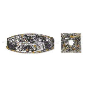 Bead, Antiqued Silver-finished Plastic, Yellow Black, 30x12mm Flat-sided Oval 3.5mm Hole. Sold Per Pkg 16