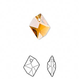 Drop, Swarovski® Crystals, Crystal Passions®, Topaz, 14x11mm Faceted Cosmic Pendant (6680). Sold Individually 6680