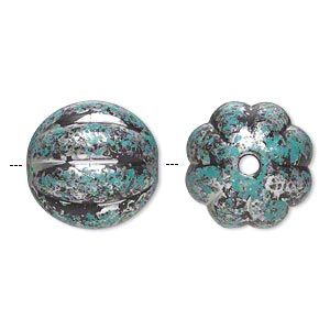 Bead, Antiqued Silver-finished Plastic, Blue-green Black, 22mm Corrugated Round 3.5mm Hole. Sold Per Pkg 8