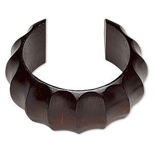Bracelet, Cuff, Wood (dyed / Waxed), Dark Brown, 35mm Wide Hand-carved Rippled Band, 7-1/2 Inches. Sold Individually 6431JD