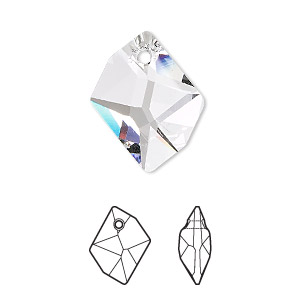 Drop, Swarovski® Crystals, Crystal Passions®, Crystal Clear, 20x16mm Faceted Cosmic Pendant (6680). Sold Individually 6680