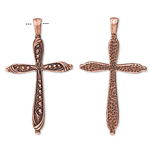 Pendant, Antique Copper-plated Pewter (tin-based Alloy), 57x32mm Dotted Cross. Sold Per Pkg 2 6435FD