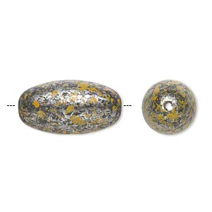 Bead, Antiqued Silver-finished Plastic, Yellow Black, 39x21mm Oval 3mm Hole. Sold Per Pkg 6