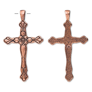 Pendant, Antique Copper-plated Pewter (tin-based Alloy), 57x32mm Cross Flower Design. Sold Per Pkg 2 6438FD