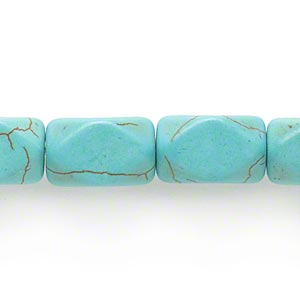 Bead, Magnesite (dyed / Stabilized), Green, 16x10mm Faceted Square Tube, C Grade, Mohs Hardness 3-1/2 4. Sold Per 15-inch Strand