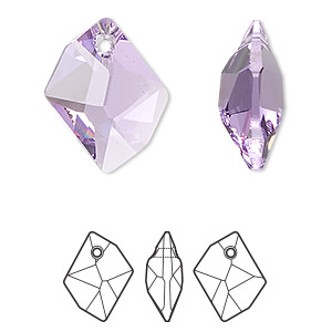 Drop, Swarovski® Crystals, Crystal Passions®, Violet, 20x16mm Faceted Cosmic Pendant (6680). Sold Individually 6680