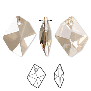 Focal, Swarovski® Crystals, Crystal Passions®, Crystal Golden Shadow, 40x32mm Faceted Cosmic Pendant (6680). Sold Individually 6680
