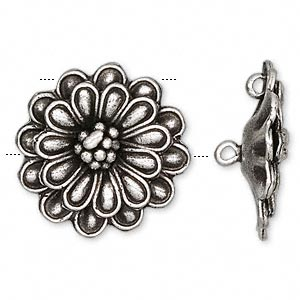 Focal, Hill Tribes, Antiqued Fine Silver, 32mm Flower. Sold Individually