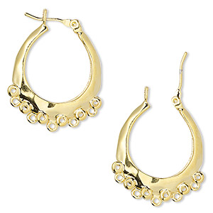 Hoop Earring Findings Gold Plated/Finished Gold Colored