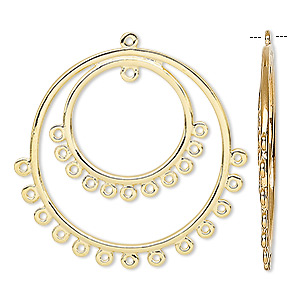 Focal, Gold-plated Brass, 30mm Double Hoop Round 25 Loops. Sold Per Pkg 4