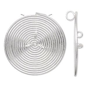 Focal, Hill Tribes, Fine Silver, 36mm Round Spiral 3 Loops. Sold Individually