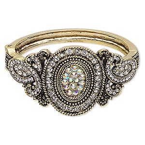 "Bracelet, Hinged Bangle, Glass Rhinestone Antique Gold-finished Steel ""pewter"" (zinc-based Alloy), Clear Clear AB, 41mm Wide Oval Loop Design, 6 Inches. Sold Individually 6525JD"