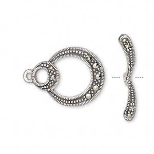 Clasp, Toggle, Marcasite (natural) Antiqued Sterling Silver, 20x16mm Single-sided Double Round. Sold Individually
