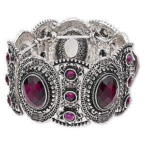 """Bracelet, Stretch, Acrylic Antique Silver-finished """"pewter"""" (zinc-based Alloy), Purple, 38mm Wide Oval Design, 6 Inches. Sold Individually 6528JD"""
