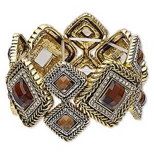 "Bracelet, Stretch, Acrylic / Glass Rhinestone / Antique Gold- / Silver-finished ""pewter"" (zinc-based Alloy), Topaz Brown Light Topaz Brown, 42.5mm Wide Diamond Design, 6-1/2 Inches. Sold Individually 6530JD"
