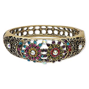 "Bracelet, Hinged Bangle, Glass Rhinestone Antiqued Gold-finished Steel ""pewter"" (zinc-based Alloy), Multicolored, 22mm Wide Double Flower Design, 2-1/4 Inch Inside Diameter. Sold Individually 6536JD"