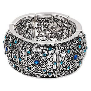"Bracelet, Stretch, Glass Rhinestone Antique Silver-finished ""pewter"" (zinc-based Alloy), Blue Blue AB, 32.5mm Wide Diamond Swirl Design, 6-1/2 Inches. Sold Individually 6537JD"