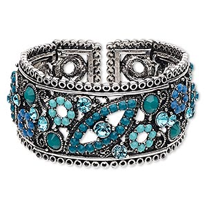 "Bracelet, Cuff, Acrylic / Glass Rhinestone / Antique Silver-finished Steel / ""pewter"" (zinc-based Alloy), Turquoise Blue Light Blue, 32mm Wide Flower Leaf Design, Adjustable 6-1/2 7 Inches. Sold Individually 6538JD"