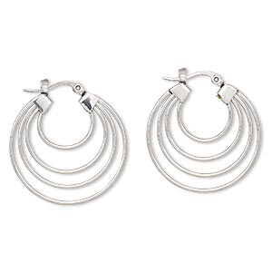 Hoop Earrings Stainless Steel Silver Colored
