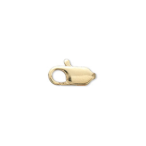 Clasp, Lobster Claw, Gold-plated Brass, 13x6mm. Sold Per Pkg 10