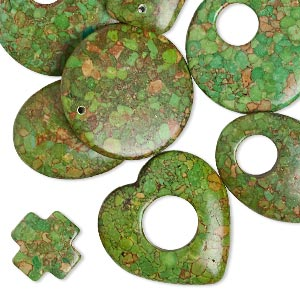 "Focal Drop Mix, Mosaic ""turquoise"" (dyed / Assembled), Green, 21x20mm-45mm Mixed Shapes, C- Grade, Mohs Hardness 3-1/2 4. Sold Per Pkg 10"