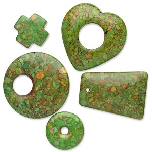 "Focal Drop Mix, Mosaic ""turquoise"" (dyed / Assembled), Green, 20x20mm-41x40mm Mixed Shape, C- Grade, Mohs Hardness 3-1/2 4. Sold Per Pkg 5"