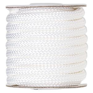 Cord, Nylon, White, 8mm Braided. Sold Per 15-foot Spool