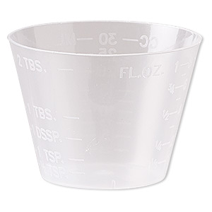 Measuring Cup, Plastic, Transparent Clear, 47x34mm. Sold Per Pkg 20