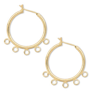 Earring Gold Plated Br 23mm Round Hoop With 5 Closed Loops And Latch Back Closure Sold Per Pkg Of Pairs