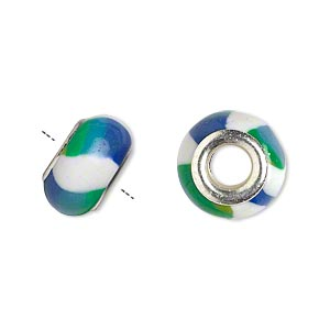 Bead, Dione®, Polymer Clay Silver-plated Brass Grommets, White/green/blue, 14x8mm Rondelle Striped Design 5mm Hole. Sold Per Pkg 6