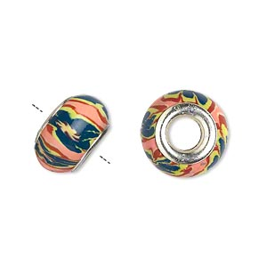 Bead, Dione®, Polymer Clay Silver-plated Brass Grommets, Salmon/dark Green/multicolored, 14x8mm Rondelle Flower Design 5mm Hole. Sold Per Pkg 6
