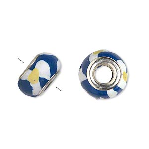 Bead, Dione®, Polymer Clay Silver-plated Brass Grommets, White/blue/yellow, 14x8mm Rondelle Flower Design 5mm Hole. Sold Per Pkg 6