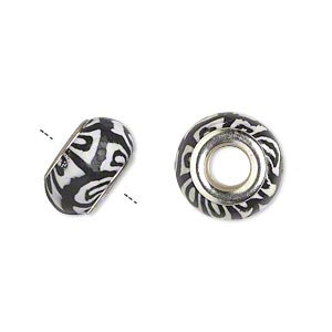 Bead, Dione®, Polymer Clay Silver-plated Brass Grommets, White Black, 14x8mm Rondelle Design, 5mm Hole. Sold Per Pkg 6