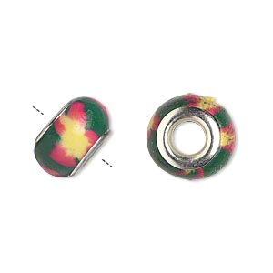 Bead, Dione®, Polymer Clay Silver-plated Brass Grommets, Green/pink/yellow, 14x8mm Rondelle Flower Design 5mm Hole. Sold Per Pkg 6