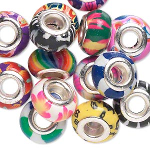 Bead Mix, Dione®, Polymer Clay Silver-plated Brass Grommets, Mixed Colors, 14x8mm Rondelle Mixed Designs, 5mm Hole. Sold Per Pkg 14