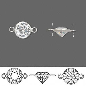 Link, Sterling Silver Cubic Zirconia, Clear, 9mm Faceted Round. Sold Per Pkg 2