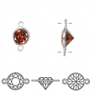 Link, Sterling Silver Cubic Zirconia, Garnet Red, 9mm Faceted Round. Sold Per Pkg 2
