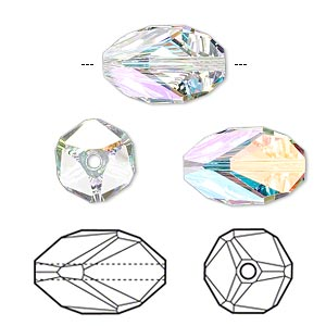Bead, Swarovski® Crystals, Crystal Passions®, Crystal AB, 16x10mm Faceted Cubist (5650). Sold Individually 5650
