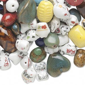 Bead Mix, Porcelain, Multicolored, Mixed Shapes. Sold Per Pkg 1 Pound, Approximately 130 Beads