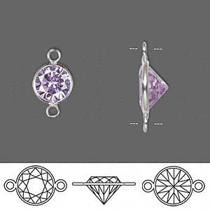 Link, Sterling Silver Cubic Zirconia, Lavender, 9mm Faceted Round. Sold Per Pkg 2