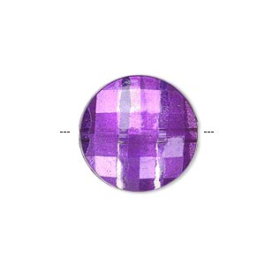 Bead, Painted Acrylic, Semitransparent Clear Purple, 20mm Faceted Puffed Flat Round. Sold Per Pkg 40