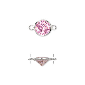 Link, Sterling Silver Cubic Zirconia, Pink, 9mm Faceted Round. Sold Per Pkg 2