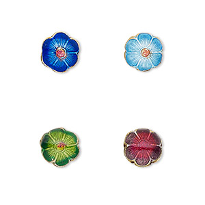 Bead, Cloisonné, Enamel Gold-finished Copper, Multicolored, 8mm Flower 0.8mm Hole. Sold Per Pkg 8