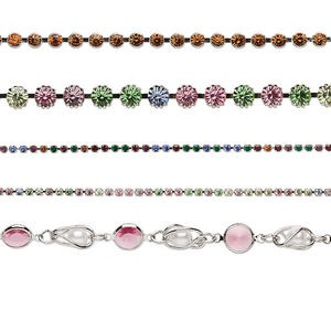 Cupchain Mix, Swarovski® Crystals Imitation Rhodium-plated Brass, Mixed Colors, 2-8mm Cupchain. Sold Per Pkg (5) 1-meter Strands